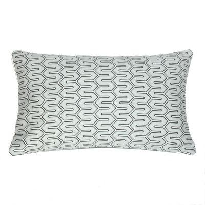 Błękitna poduszka z graficznym wzorem // Oh Home
