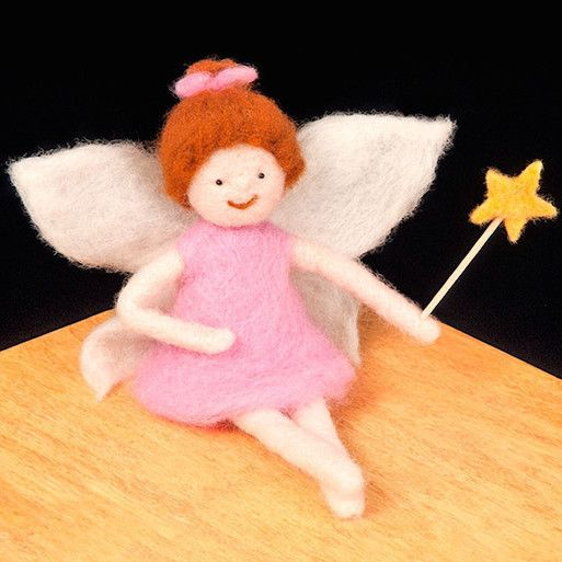 Needle Felting Kit - Fairy from Woolpets has enough colored wool roving and all the needle felting supplies needed to create a magical pink fairy with white wings and golden star wand. These needle fe