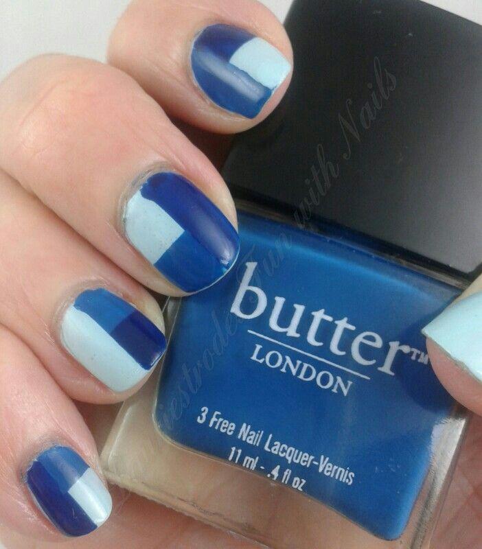 GOT Polish #3: Blue. I did a tape mani using butterLondon Blagger, GOSH Attitude, and Illamasqua Nudge.