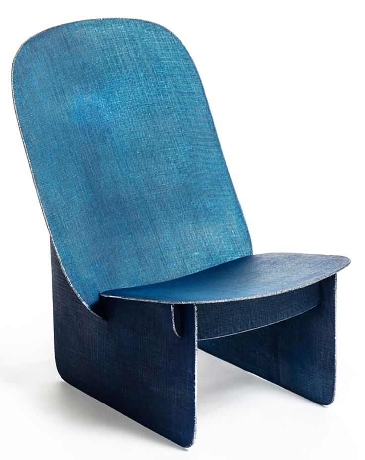 the tiss tiss chair uses a welding technique that evokes the appearance of textured denim