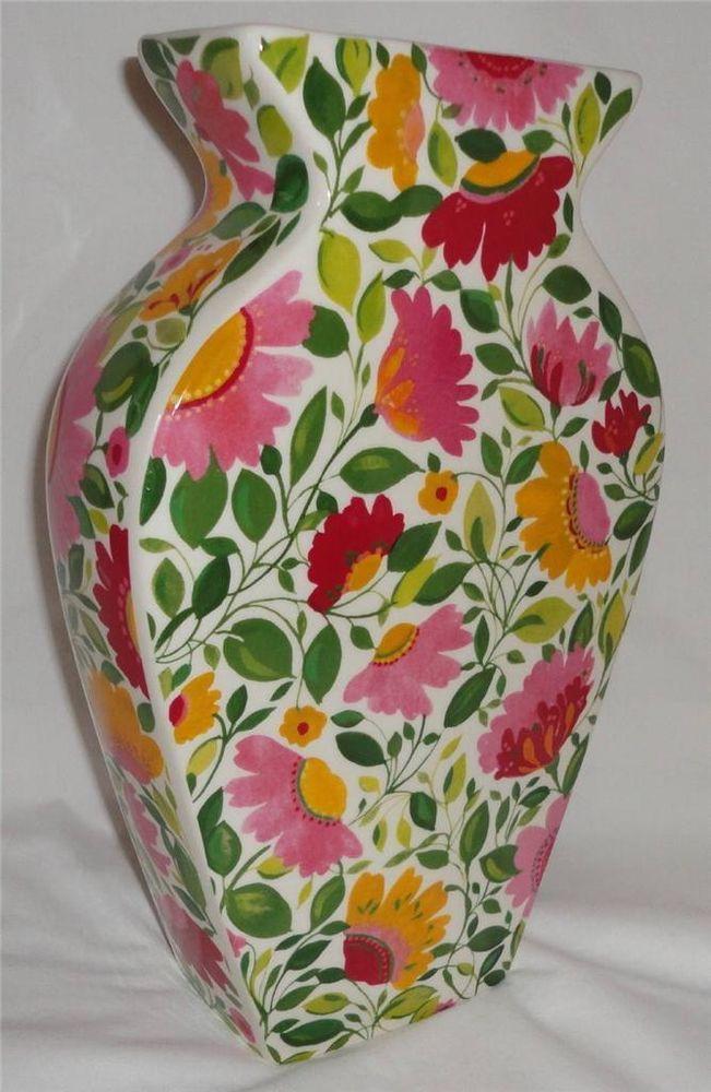 "Kim Parker Home Spode China Emma's Garland Silhouette Flower Vase 11.75"""