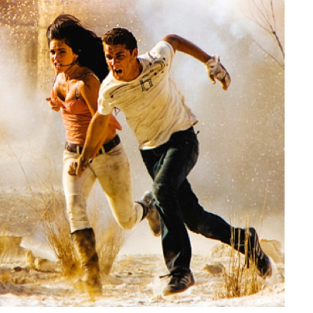 Shia LaBeouf and Megan Fox. FINALLy an movie that is realistic. White pants should never be white at the end of a war scene!