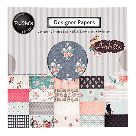 Rosie's Studio Arabella Designer Papers 40 Sheet Pad 6in x 6in