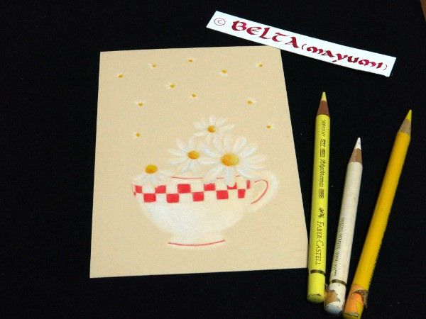 chamomile_2015_03_10_02_s Japan on Wednesday marked the fourth anniversary of the 2011 earthquake and tsunami that devastated the country's northeastern region.  red ,white and flowers for people in the disaster area.  for this drawing I used  Faber castell polychromos Holbein artists  Stonehenge paper fawn  © Belta(WAKABAYASHI Mayumi )