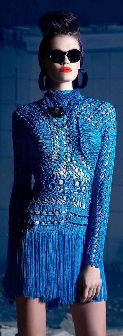 robe bleu crochet