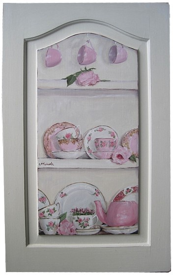 Original Painting - Pink & White China in a Cupboard