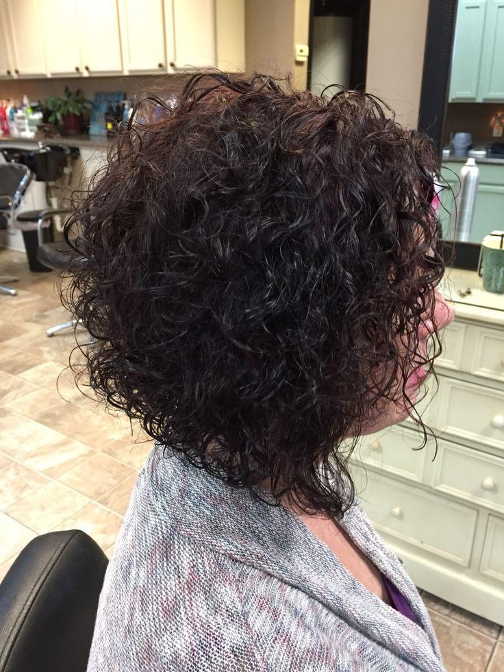 Curly inverted bob I did . Love the dark redish Violet color