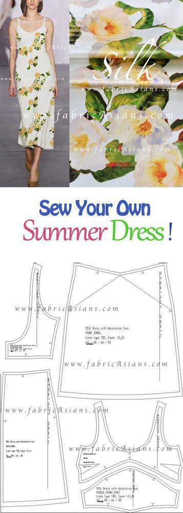 How to sew summer dress? Floral silk satin. by fabricAsians