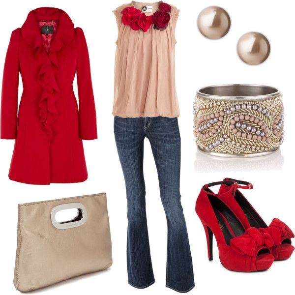 cute holiday look....love the blouse!Valentine'S Day, Fashion, Style, Valentine Day, Clothing, Red Shoes, Outfit, Jackets, Red Coats