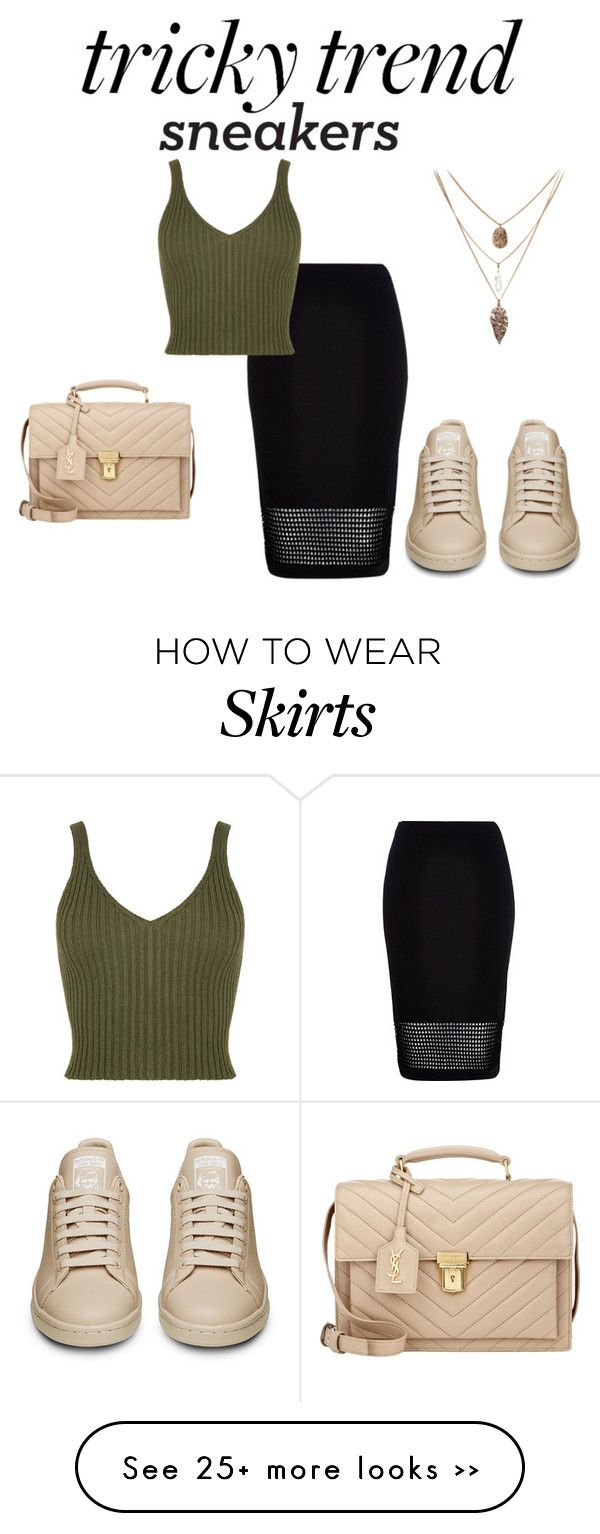 """Tricky Trend: Pencil Skirts and Sneakers"" by sad11 on Polyvore featuring River Island and Yves Saint Laurent"