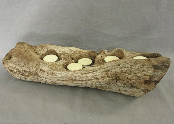 Rustic candleholder centerpiece table decor by shiningcity on Etsy