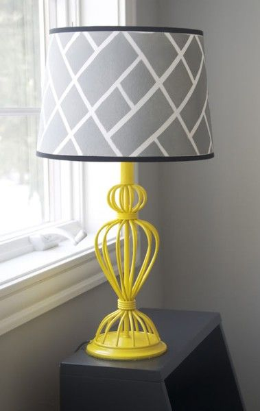 Love the yellow and the painted lampshade. I have these lamps...I am totally going to paint them and get new shades!