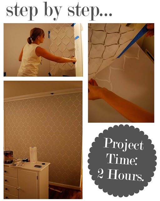 The Busy Budgeting Mama: Stenciled Accent Wall Quick And Easy?
