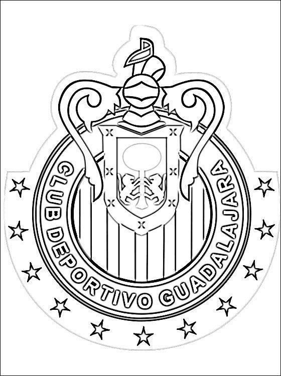 Resultado de imagen para dibujos de escudos de futbol chivas para colorear #futboldibujos