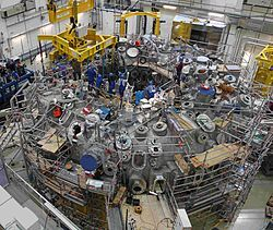 The Wendelstein 7-X (W7-X) reactor is an experimental stellarator (nuclear fusion reactor) built in Greifswald, Germany, by the Max Planck Institute of Plasma Physics (IPP), and completed in October 2015.[2] It is a further development of Wendelstein 7-AS. The purpose of Wendelstein 7-X is to evaluate the main components of a future fusion reactor built using stellarator technology, although Wendelstein 7-X itself is not an economical fusion power plant.
