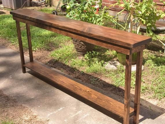 72 Inch Rustic Console Table Extra Narrow Sofa Table Entryway