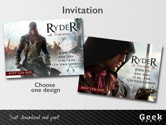 Assassins Creed Unity Party Invitation - Printable - Choose your design