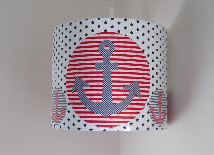 Lamp Shade, Anchor Lamp Shade, Nautical Lamp Shade, Navy Lamp Shade, Marine Lamp Shade, Sailor Lamp Shade, Blue Stars Lamp Shade, Navy Blue by buntgemacht on Etsy https://www.etsy.com/listing/271584975/lamp-shade-anchor-lamp-shade-nautical