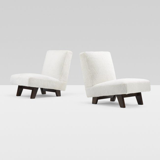 Le Corbusier and Pierre Jeanneret; Teak Frame Lounge Chairs from the High Court of Chandigarh, 1955.