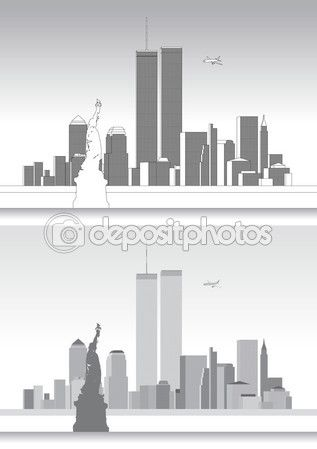 WTC, World Trade Center e lo Skyline di New York — Vettoriali Stock © frizio…