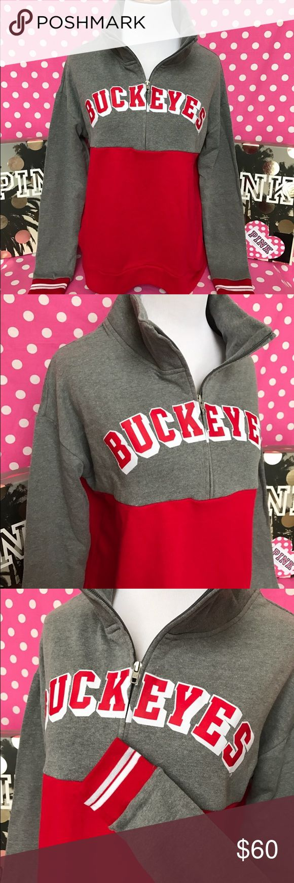 """🆕NWT VS PINK Ohio State Buckeyes half zip 💖Thanks for shopping at Candy Land!💖  ✅NWT VS PINK Ohio State Buckeyes half zip   ‼️PRICES ARE FIRM ~ My items are priced at the lowest already. Please do not ask """"lowest"""". Remember Posh takes a fee 😩.    ⭐️NWT VS PINK items for sale on my page! 🚫PRICE IS FIRM EVEN WHEN BUNDLED  🚫NO MODELING 🚫I DON'T TRADE ✋LOWBALLS WILL BE IGNORED ✋RUDE COMMENTS = BLOCKED PINK Victoria's Secret Tops Sweatshirts & Hoodies"""