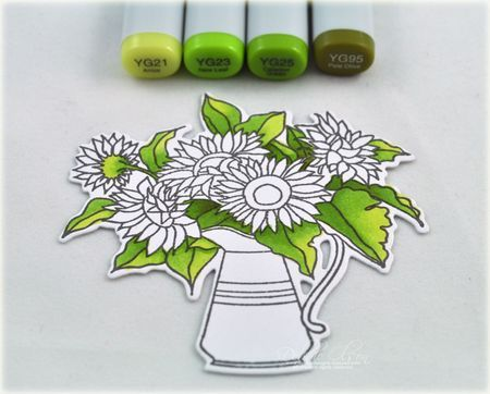 Coloring PTI Sunflower Bouquet, by Debbie Olson