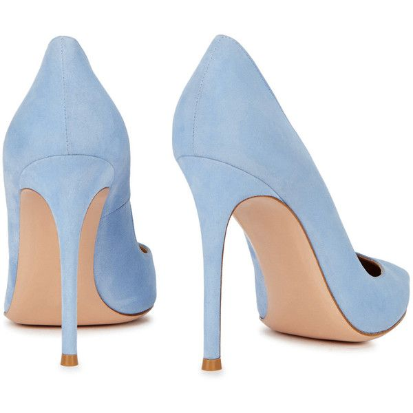 Gianvito Rossi Ric Blue Suede Pumps - Size 7 ($640) ❤ liked on Polyvore featuring shoes, pumps, slip-on shoes, suede pointed toe pumps, heel pump, suede slip on shoes and pointy-toe pumps