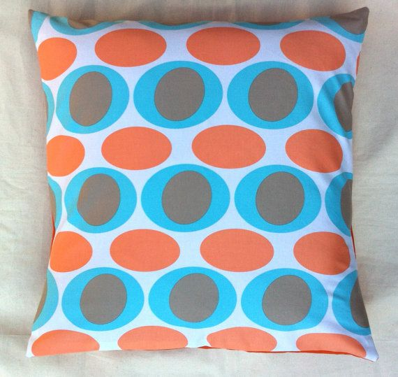 Cushion cover handmade from blue orange grey and by RhapsodyInc