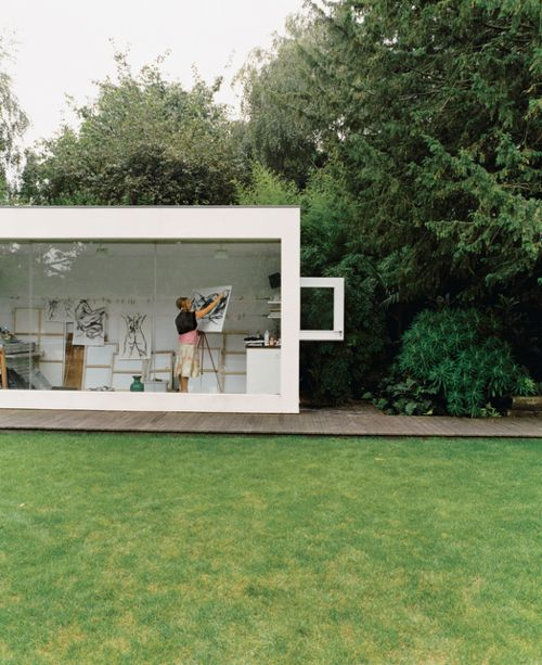 this would be a favorite space if it was part of my home!  is this not the coolest art studio ever??