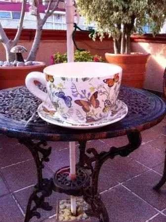 maceta tipo taza en ceramica grande