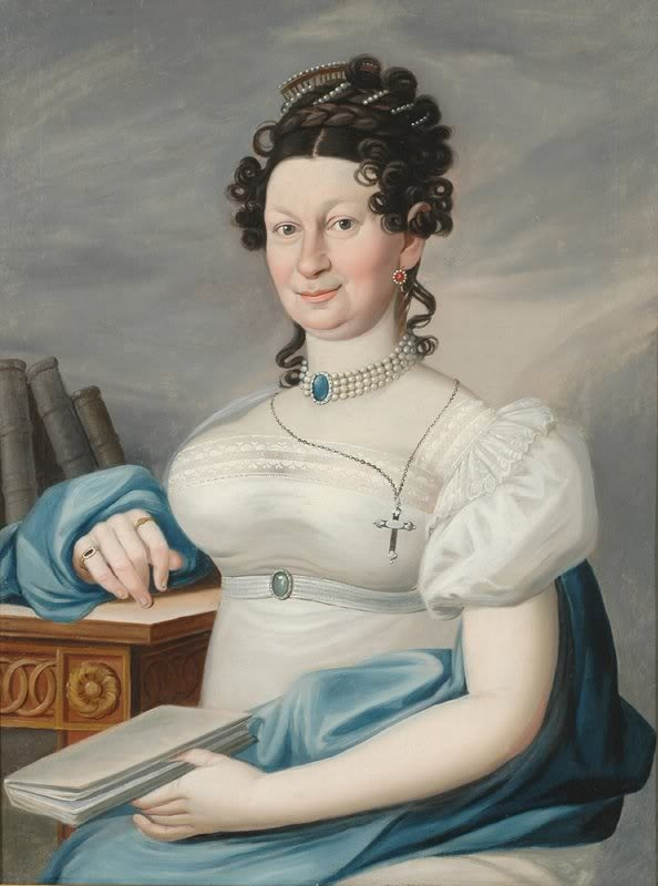 1815ca. Charlotte Schiller bedecked in jewelry, by Louise Seidler (Boris Wilnitsky)