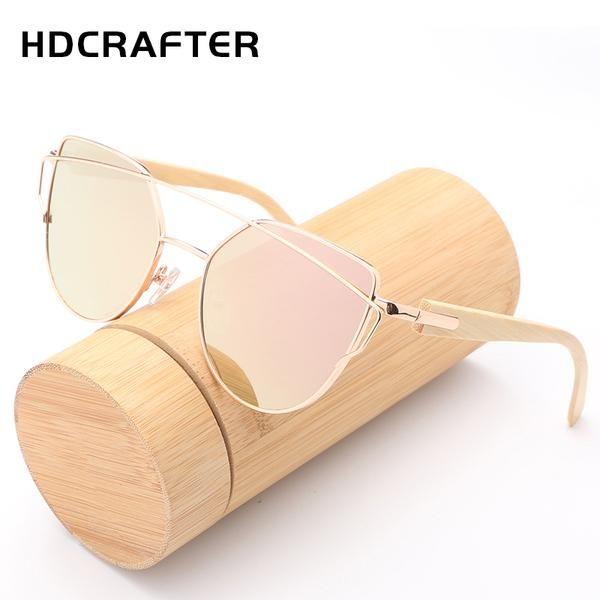 HDCRAFTER  Sunglasses Women Wooden
