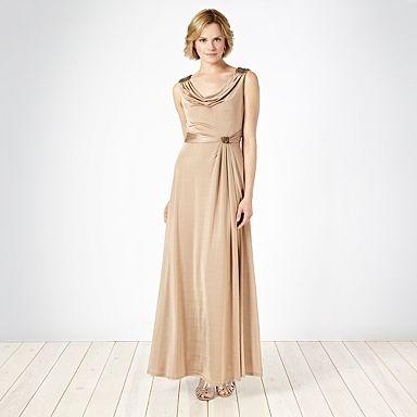 Gold cowl jersey maxi dress - Evening & party dresses