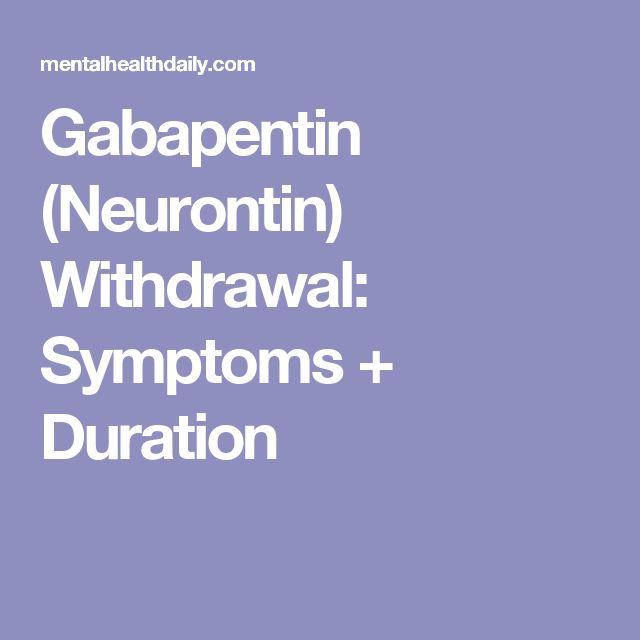 gabapentin neurontin withdrawal