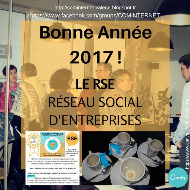 """LE RSE Votre groupe !  Réseau Social d'Entreprise((s)) :   RSE = """"""""Réseau Social d'Entreprises"""""""" avec un (s) au pluriel  RSE = en 2 étapes de demandes d'inscriptions :  1 - (https://www.facebook.com/groups/COMINTERNET) = LES INVITES 2 - (https://www.facebook.com/groups/GroupeRSE) = LES ACTIFS RSE  Bonjour, bienvenue dans un groupe de professionnels, demandeurs d'emploi, porteurs de projets d'ouvrir leur entreprise, salariés, retraités, étudiants et partenaires au projet RSE."""