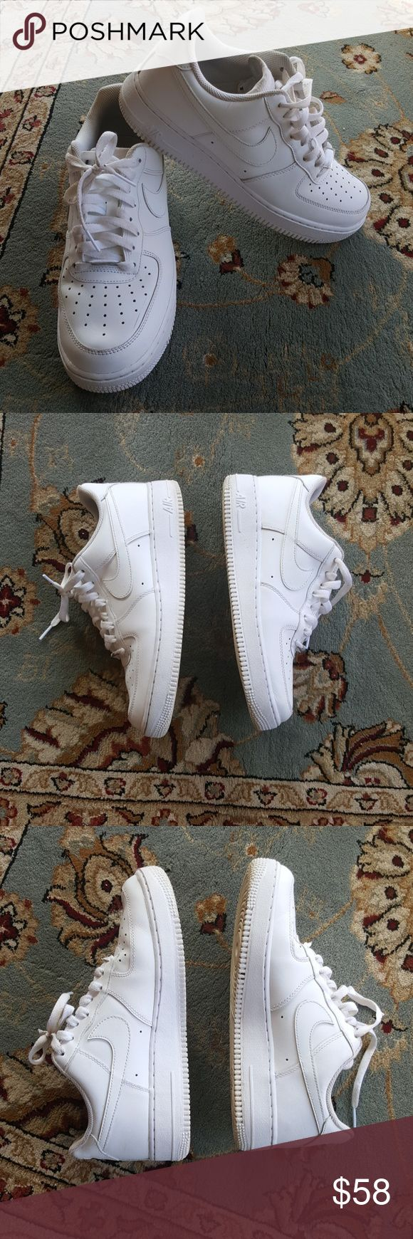 8 all white air force one's af1 Great condition women's size 8 all white Air Force Ones some dirt on the bottom of the souls. But no toe creasing one minor scuff shoe laces are in good condition somewhere inside the shoe but no picking from socks. Nike Shoes Sneakers