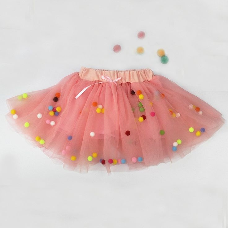 Fashion Comfortable Pink Floating Pom Pom Infant Toddler Skirt Material: Pure cotton lining, lace, tulle mesh & elastic waistband Available from 1 - 4 years Please follow Girly Shop size guide to find