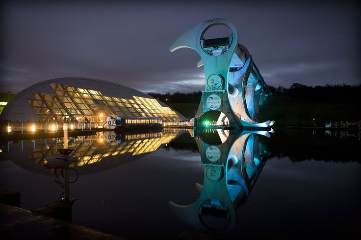 The Falkirk Wheel, the only rotating boat lift in the world, connecting the Union Canal and the Forth & Clyde Canal in Scotland.