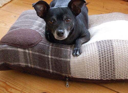 I love this - MODify/d uses scrap fabric from apparel companies to make cute dog beds like this. Double win.