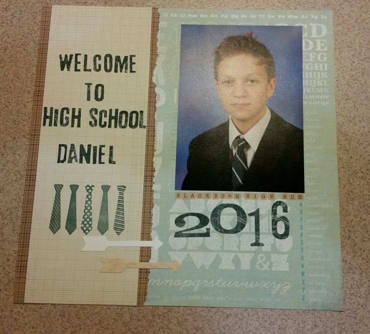 School photo scrapbook layout. Numbers  by Tim Holtz. Tie stamps by Stampin Up. Letters die cut by Tim Holtz. Paper from Basic Grey.