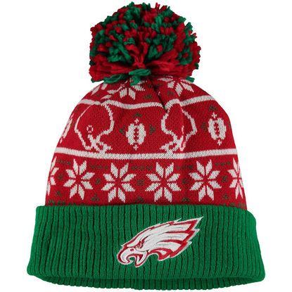 Men's Philadelphia Eagles Red and Green Sweater Chill Cuffed Knit Hat with Pom from New Era