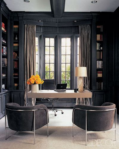 Monique Lhuillier's study, as seen in Elle Decor. Photo by Roger Davies.    Something I like about dark rooms -- they'd make you concentrate on the job instead of getting distracted.