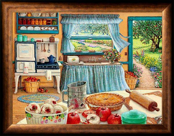 Рукоделие ремесел и подарков домашнего декора французский DMC качество счетный крест Kit картина маслом 14 СТ яблочный пирог урожай