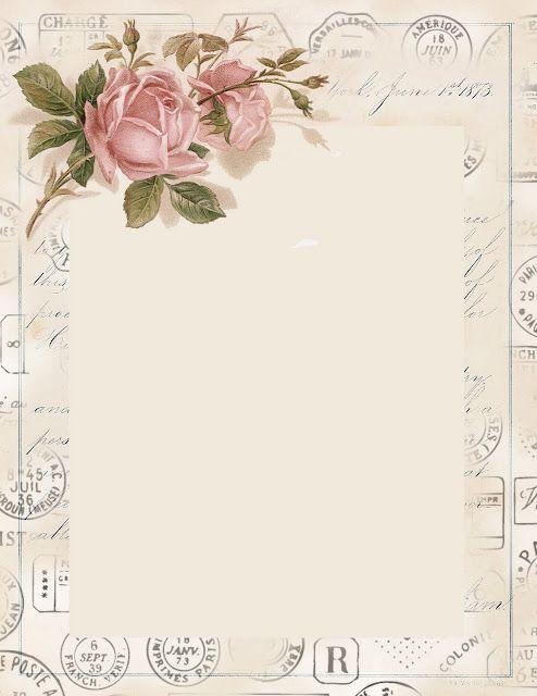 pretty vintage rose stationery ~ free printable