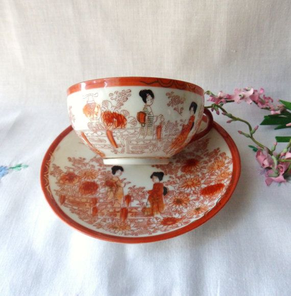Japanese Geisha Girl Teacup and Saucer, Egg Shell Porcelain, Red and White Asian Teacup and Saucer Set