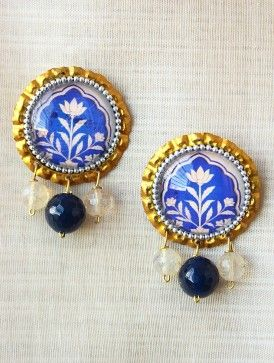 Blue-White Gold Tone Earrings with Hand-painted Persian Motif