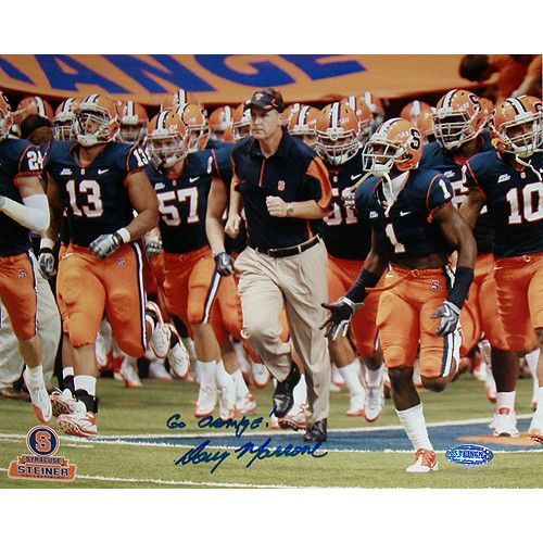 Doug Marrone Syracuse Running on Field with Team Horizontal 8x10 Photo w/ 'Go Orange' Insc.