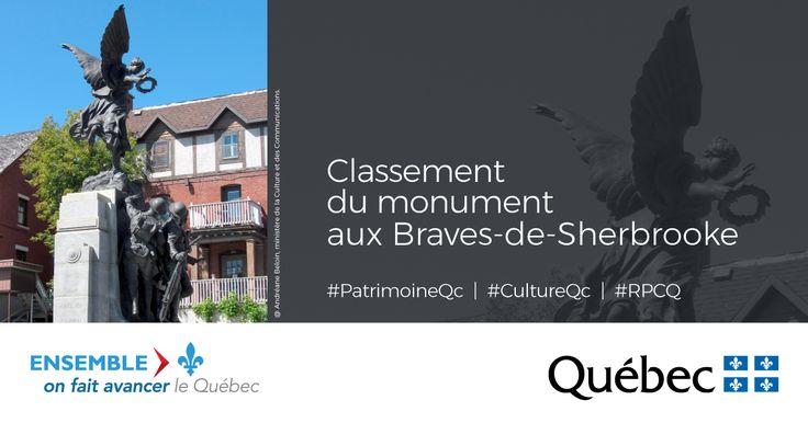Le monument aux Braves-de-Sherbrooke, véritable point de repère et élément symbolique fort du paysage urbain de la ville de Sherbrooke, est désormais classé en vertu de la Loi sur le patrimoine culturel. #PatrimoineQc #CultureQc