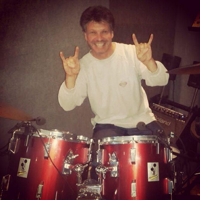 Armando (Stix) laying down drum tracks - The Color Blew