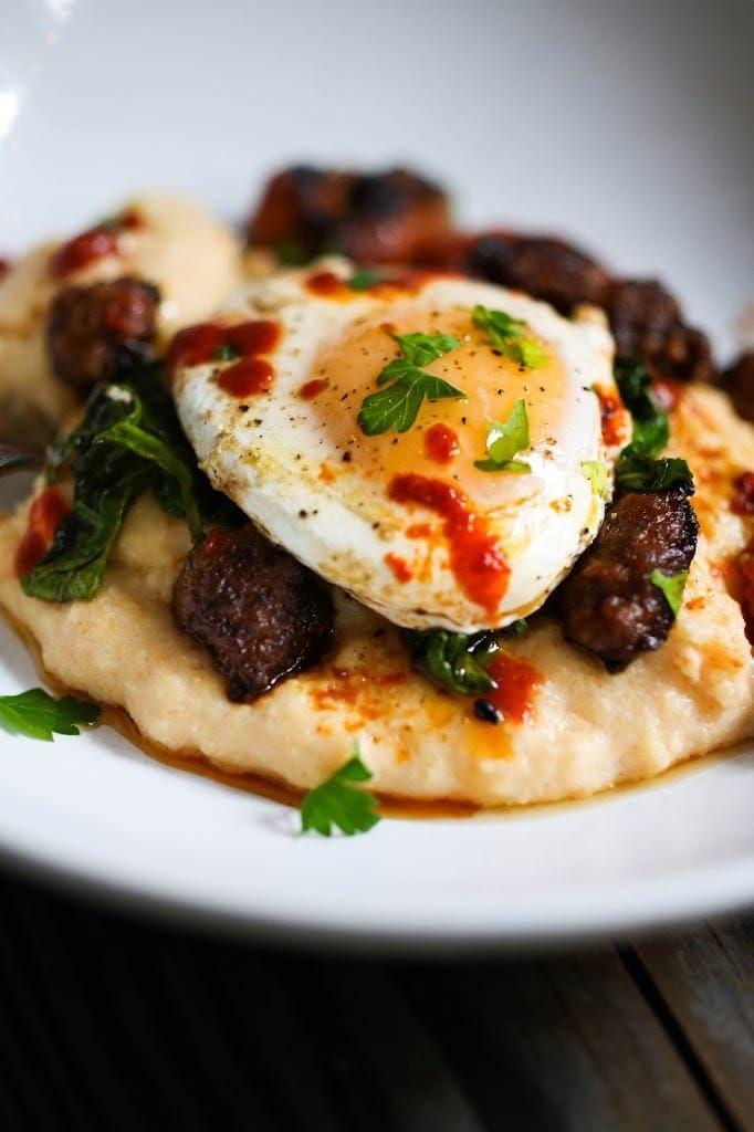Creamy Polenta With Eggs Chorizo And Cilantro Recipe Brunch